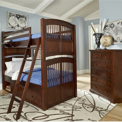 NE Kids - Walnut Street Hayden Twin Over Twin Bunk Bed - Chestnut - FUB552 - Shop for Bunk Beds from Hayneedle.com! The Hayden Twin Over Twin Bunk Bed Chestnut reduces the headaches involved when two kids share a room. This double-twin bunk bed set offers an optional trundle or two spacious storage drawers and an open storage cubby that lets the kids keep the room clean and maximizes the total play area. The frame is constructed from solid poplar solids and features a complete slat system that needs no box springs. The beds each features a charming slatted head- and footboard and are easily separated. The rich chestnut finish completes the piece complemented by select veneers and oil-rubbed bronze finish solid iron drawer pulls. Top bunk features a hanging nightstand attached to the guard rail. CPSC recommends the tops of the guardrails must be no less than 5 inches above the top of the mattress and that top bunks not be used for children under 6 years of age. About New Energy KidsNE Kids is a company with a mission: to create and import truly unique furniture for your child. For over thirty years they've been accomplishing this mission with flying colors one room at a time. Not only will these products look fabulous they will provide perfect safety for your children by adhering to the highest standards set by the American Society for Testing and Material and the Consumer Products Safety Commission. Your kids are in the best of hands and everyone will appreciate these high-quality one-of-a-kind pieces for years to come.
