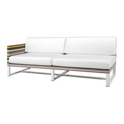 Mamagreen - Stripe Armright 2-Seater - The Stripe Armright 2-Seater Corner Sectional Sofa Combines highly weather resistant powder coated aluminum with durable textile. The seat cushions have been carefully designed for comfort and utility. Available in a variety of mesh colors.