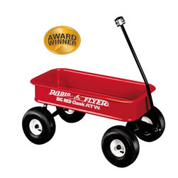 "Radio Flyer - Big Red Classic ATW - This is the perfect companion for adventurous children of all ages who love to blaze trails into the imagination. With sturdy all steel construction, brawny air tires, and large capacity, the Big Red Classic All Terrain Wagon takes adventure beyond the driveway and into the great outdoors. Parents feel safe with the no-pinch ball joints and controlled turning radius to prevent tipping. This is one tough toy that will never be tough on kids. Features: -Our classic red wagon just got 50% deeper . -High sides for extra capacity . -Real air tires provide a super soft, super quiet ride . -Sturdy steel construction . -Extra-long handle for easy pulling . -Handle folds under for easy storage . -No-pinch ball joint keeps fingers safe . -Controlled turning radius prevents tipping . -Awards: Early Childhood News Director's Choice Award Winner, National Parenting Publications Award Winner (NAPPA) . Specifications: -For ages over 18 months . -Body dimensions: 36"" x 17.5"" x 6"" . -Wheel dimensions: 10"" x 4"" . -Weight: 37.83 lbs ."