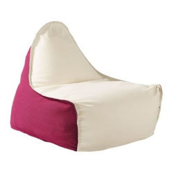 Serena & Lily - Newport Lounger Berry/Ivory - We took the classic beanbag and gave it a sail-inspired shape that perfects the lounge position. Add killer colors to the mix a berry base, an ivory top, aqua whipstitching for contrast and you've got a keeper. A sturdy rope handle lets you pull it with ease from porch to playroom.