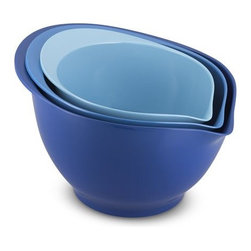 Melamine 3-Piece Mixing Bowl Set, Tonal Blue - Fashion's color blocking trend also works in the home. This set of mixing bowls in three satisfying shades of blue, from sky to cornflower, is so cute even I might be inspired to do some baking!