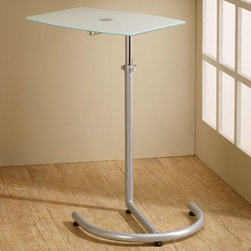 Coaster - 800200 Laptop Stand - Silver laptop stand with frosted tempered glass top and adjustable in height.