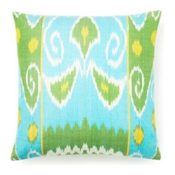 5 Surry Lane - Turquoise Blue Silk Ikat Pillow - Preppy meets ethnic design with this gorgeous silk pillow. Add it to your bedding or sofa for a delightful pop of color. It's more than just a pretty face, as the down-filled insert provides the ultimate in comfort.