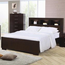 Coaster - Jessica Panel Bed (California King) - Choose size: California KingChest not included. Light cappuccino finish. Made from solids woods and select veneers. Sleek headboard with three storage compartments. Built in lighting creates a stunning display. Contemporary style. Queen: 89 in. L x 66 in. W x 47 in. H. Eastern King: 89 in. L x 81 in. W x 47 in. H. California King: 93 in. L x 77.25 in. W x 47 in. H. WarrantyCreate a sophisticated contemporary look in your master bedroom with this unique and stylish bed.