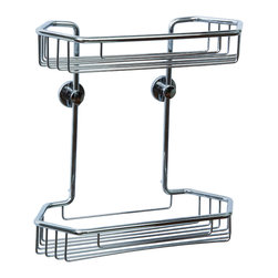 """no drilling required - DK240Z- Double Shower Caddy - no drilling required - 100% Rustproof, Chrome - 100% rustproof construction and includes the patented German made no drilling mounting system. The mounting system installs without any tools, no measuring and carries a Lifetime Replacement Warranty. Designed for use on tile, stone, glass, metal, wood, concrete, brick and plastics. The system is also removable if needed and is ideal for renters, remodels and to remove before you move! Dimensions 11""""w x 11-1/2""""t x 5-1/4""""d - 9-1/8"""" between shelves. Holes are 5"""" on center.  100% Rustproof Solid brass construction, nie wieder bohren no drill mounting hardware included, installs in minutes"""