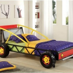 Furniture of America Race Car Twin Metal Bed - The Furniture of America Race Car Twin Metal Bed is going to be the funnest piece of furniture in your house. This delightful race car that happens to also be a bed adds a splash of color and a full helping of adventure to your child's bedroom. In fact, it just might have the necessary suspension to get through the potholes of bedtime without any bumps.About Furniture of America Based in California, Furniture of America has established itself as a premier provider of fine home furnishings. The people behind Furniture of America brand are moved by passion, hard work, and persistence. They are always striving to design the latest piece, keeping in mind their mission to make quality furniture available to urban-minded shoppers, without compromising the packaging integrity.Furniture of America offers unique, coordinated, and affordably designed furniture; they are a one-step resource for high-quality furniture with secure and professional packaging in the furniture industry.