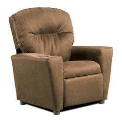 "KidzWorld - Juvenile Children's Recliner - Features: -Children's recliner.-Fabric cleans easily with a damp cloth and mild soap.-Armrests are slightly larger at the top, flattened top surface.-Meets all CPSIA standards, lead tests, and is CARB compliant.-Recessed plastic cup holder in the top of the right-hand armrest.-Front section is padded for safety and to ensure no sharp edges.-Recliner has a sturdy, mixed hardwood frame with a reclining mechanism made of steel.-Reclining mechanism has a safety feature, whereby, the footrest must be pulled out from the bottom before a child is able to recline back. Once seated in the chair, the child can safely recline back on their own by pushing back on the armrests.-Stylish backrest is over-stuffed, providing a large, rounded top.-Made in the USA.-Juvenile collection.-Product Type: Chair.-Collection: Juvenile.-Hardware Finish: Steel.-Distressed: No.-Powder Coated Finish: No.-Gloss Finish: No.-Frame Material: Mixed hardwood.-Hardware Material: Steel.-Solid Wood Construction: Yes.-Number of Items Included: 1.-Non-Toxic: No.-UV Resistant: No.-Fire Resistant: No.-Stain Resistant: No.-Mildew Resistant: No.-Insect Resistant: No.-Arms Included: Yes.-Upholstered Seat: Yes -Seat Upholstery Material: Polyester fibers & densified fibers.-Removable Seat Cushions: No.-Seat Cushion Fill Material: Polyester fibers & densified fibers.-Removable Seat Cushion Cover: No.-Tufted Seat Upholstery: No.-Welt on Seat Cushions: No..-Upholstered Back: Yes -Back Upholstery Material: Polyester microfiber.-Removable Back Cushions: No.-Back Cushion Fill Material: Polyester fibers & densified fibers.-Removable Back Cushion Cover: No.-Tufted Back Upholstery: No.-Welt on Back Cushions: No..-Nailhead Trim: No.-Rocker: No.-Swivel: No.-Glider: No.-Reclining: Yes.-Footrest Included: Yes.-Stackable: No.-Foldable: No.-Inflatable: No.-Legs Included: Yes -Number of Legs: 4.-Leg Material: Plastic.-Protective Floor Glides: No..-Casters: No.-Cupholder: Yes.-Skirted: No.-Ottoman Included: No.-Adjustable Height: No.-Ergonomic Design: No.-Age Recommendation: 3 to 7 yrs..-Outdoor Use: No.-Seating Capacity: 1.-Weight Capacity: 75 lbs.-Swatch Available: No.-Commercial Use: No.-Recycled Content: No.-Eco-Friendly: Yes.-Product Care: May be wiped clean with damp cloth and mild soap, air dry.-Country of Manufacture: United States.-Convertible: No.Specifications: -Material: 50% Wood; 15% Densified Fiber; 5% Polyester Fiber fibers; 8% Metal; 2% Plastic; 20% Fabric.-FSC Certified: No.-CPSIA or CPSC Compliant: Yes.-CARB Compliant: Yes.-Green Guard Certified: No.Dimensions: -Overall Height - Top to Bottom: 28"".-Overall Width - Side to Side: 24.5"".-Overall Depth - Front to Back: 23"".-Seat Height: 13.5"".-Seat Width - Side to Side: 14"".-Seat Depth - Front to Back: 14"".-Legs: -Leg Height: 2"".-Leg Width: 1.5"".-Leg Depth: 1.5""..-Arms: -Arm Height: 15"".-Arm Width: 5""..-Depth When Fully Reclined: 27"".-Overall Product Weight: 32 lbs.Assembly: -Assembly Required: No.-Additional Parts Required: No.Warranty: -Product Warranty: 30 days."