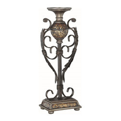 Lite Source - Lite Source Narcisco Traditional Small Candle Holder X-23014C - Intricate scrollwork blends beautifully with acanthus leaf detailing and southern European charm on this stylish Lite Source candle holder. From the Narcisco Collection, this small traditional Candle Holder features mosaic Glass accenting and a beautiful Dark Bronze Finish on the durable Metal body.