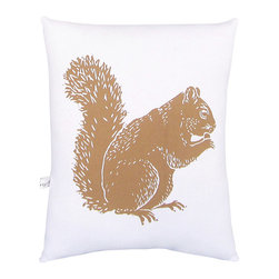 """artgoodies - Squirrel Squillow Pillow - A cute accent pillow for your couch, chair, or bed!  An original hand carved block print has been hand printed on 100% cotton, sewn together with coordinating vintage fabric, and filled with poly-fil. Measures 10.5"""" tall x 8.5"""" wide."""