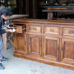 Furnishing of Mesquite wood - The 'Megan' buffet of mesquite wood with simple detail of carving around the doors and drawer fronts.