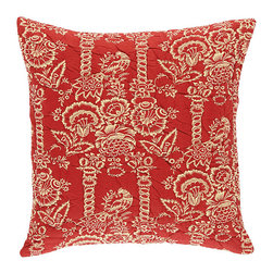 """Ballard Designs - Vintage Red Quilted Bird Pillow with Insert - 20"""" - 2200-gram cotton fill. Knife-edge & hidden zipper. 100% cotton flax colored back. Luxurious feather down insert. Our Vintage Red Quilted Pillows were inspired by pieces of vintage fabric from the Ballard library. Both styles are made of soft 100% Cotton and hand quilted for rich depth and texture.Vintage Red Quilted Pillow features: . . . ."""