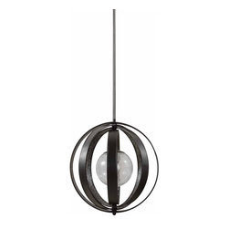 Uttermost - Uttermost Miscellaneous Ball Shaped Pendant Light in Matte Black - Shown in picture: Matte Black Rings With Stained Crushed Glass Inside Suspended Around A Crackled Glass Globe. Matte black rings with stained crushed glass inside suspended around a crackled glass globe.