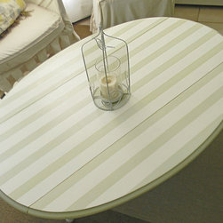 Shabby Chic Cottage Style Striped Drop Leaf Coffee Table by Simple Home Life - I love the clean contrast of the stripes. This drop-leaf table is the perfect place for my tea and magazines.