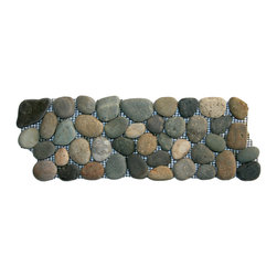 "CNK Tile - Bali Ocean Pebble Tile Border - Each pebble is carefully selected and hand-sorted according to color,  size and shape in order to ensure the highest quality pebble tile  available.  The stones are attached to a sturdy mesh backing using  non-toxic, environmentally safe glue.  Because of the unique pattern in  which our tile is created they fit together seamlessly when installed so  you can't tell where one tile ends and the next begins!   Usage:   Suitable for interior and exterior use, walls, floors, showers, backsplashes and pools.   Details:  Stone size: Approx. 3/4"" to 2-1/2""   Thickness: Approx. 1/2""   Dimensions per sheet: 4"" High by 12"" Wide  Mounting: Mesh-backed"