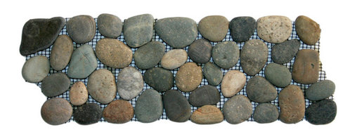 """CNK Tile - Bali Ocean Pebble Tile Border - Each pebble is carefully selected and hand-sorted according to color,  size and shape in order to ensure the highest quality pebble tile  available.  The stones are attached to a sturdy mesh backing using  non-toxic, environmentally safe glue.  Because of the unique pattern in  which our tile is created they fit together seamlessly when installed so  you can't tell where one tile ends and the next begins!   Usage:   Suitable for interior and exterior use, walls, floors, showers, backsplashes and pools.   Details:  Stone size: Approx. 3/4"""" to 2-1/2""""   Thickness: Approx. 1/2""""   Dimensions per sheet: 4"""" High by 12"""" Wide  Mounting: Mesh-backed"""