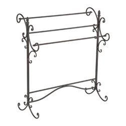 Holly & Martin - Bolton Iron Blanket Rack - With a rustic and graceful styling, this piece grabs your attention. Decorative scrolled metal exudes beauty and provides useful storage for quilts and comforters. Perfect for bedroom or living room, this beautiful blanket rack will provide a wonderful accent to all your decor.