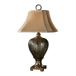 Uttermost - Uttermost 26521  Cupello Metal Table Lamp - Pierced metal work finished in antiqued silver champagne. the square bell with clipped corners shade is a silken, taupe champagne fabric.