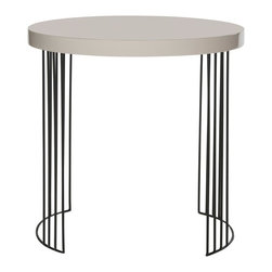 Safavieh - Kelly Lacquer Side Table - A nod to plane geometry, the round Kelly lacquer side table creates a crisp contemporary statement beside a sofa or chair. This chic table is crafted with two half-circle rows of black iron legs, and topped with taupe lacquer for luxurious shine.
