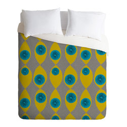 DENY Designs - Mummysam Blue And Yellow Flower Duvet Cover - Turn your basic, boring down comforter into the super stylish focal point of your bedroom. Our Luxe Duvet is made from a heavy-weight luxurious woven polyester with a 50% cotton/50% polyester cream bottom. It also includes a hidden zipper with interior corner ties to secure your comforter. it's comfy, fade-resistant, and custom printed for each and every customer.