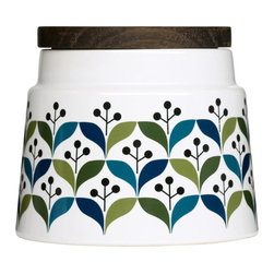 Retro Lite Storage Container - Food storage doesn't have to be plain, unsightly plastic. Give your kitchen a quick update you can be proud of with this petite food storage canister. Made of stoneware printed all over with a sweet, retro pattern, it'll give your countertops a boost while storing dry goods.