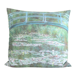 Poetic Pillow - Claude Monet Japanese Footbridge Pillow - Transform any space with a pillow from Poetic Pillow. Each pillow is inspired by fine works of art and printed on the front and back.   Covers are made of pre-shrunk satin-like polyester fabric. All seams are finished to prevent fraying and pillow covers have a knife edge finish.. A concealed zipper allows for ease of inputting pillow inserts.  A duck feather insert is included for soft yet supportive feel.  Cushion inserts are encased in a cotton cover and filled with 100% duck feather.  All research, design and packaging is completed in Oakland, California.