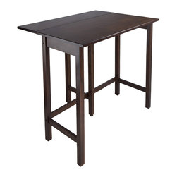 Winsome - Lynnwood Drop Leaf High Table - This versatile high table is space saving and functional. A leaf is folded down for space saving and when in use lift up the leaf for an extension of top surface. Top table area when leaf is up 39.37 in. W x 30 in. D x 35.43 in. H. Table when leaf is folded 39.37 in. W x 20.70 in. D x 35.43 in. H. Drop leaf 39.37 in. W x 10.31 in. D. Constructed in solid wood in warm Antique Walnut Finish. Ready to Assemble.