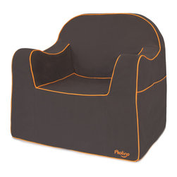 P'kolino - Reader Chair, Charcoal - Make reading or TV time special with this adorable child's chair. Constructed of high-density foam and covered with durable fabric, this seat includes a split side pocket for storing books or gadgets, and a built-in handle for easy toting. The wide base assures extra stability; recommended for ages 4 and up.