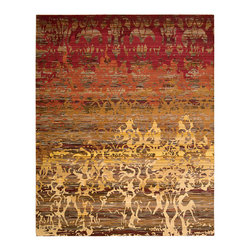 """Nourison - Nourison Rhapsody RH001 7'9"""" x 9'9"""" Sunrise Area Rug 13927 - Like a glorious dawn reaching across the sky, this amazing display of color and movement is truly rhapsodic. Flaming figural shapes dance with exciting spontaneity across the backdrop of a striated field. The predominant golden oranges and reds are softly contrasted by subtle earthtones."""