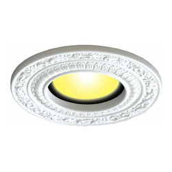 Renovators Supply - Spot Light Trim White Urethane Recess Light Trim 6 ID x 10 OD - Recessed Lighting Trim: Made of virtually indestructible  high-density urethane our spotlight rings are cast from  steel molds guaranteeing the highest quality on the market. High-precision steel molds provide a higher quality  pattern consistency, design clarity & overall strength & durability.  Lightweight they are  easily installed  with no special skills. Unlike plaster or wood urethane is resistant to  cracking, warping or peeling.   Factory-primed  our spotlight rings are ready for finishing & enhance any ceiling light fixture. Featuring spectacular acanthus scroll designs. 6 in. dia.