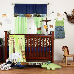 "Jazzie Jungle Boy - Infant Set (4pc) - Come on in and explore a world of ""adventure"" with ""One Grace Place"" Jazzie Jungle Boy collection.  This 4pc set includes 4pc bumper, crib bed skirt, crib sheet and coordinating quilt.  4 pc bumper is a combination of ""One Grace Place"" designer cotton print fabric and soft minky fabric.  Bumpers are reversible to add another look at feel to all rooms.  Each side of this fun bumper is intriguing and completely different.   Designed with the collections main prints using ""Cheetah Blue"", ""Giraffe"", ""Cheetah"", ""Zebra"" and solid navy cotton print fabrics with a  combination of brown and green minky fabrics.  Welting and ties are designed with chocolate brown. Crib bed skirt is designed with chocolate cotton print fabric and trimmed in all the ""animal"" prints available in this collection.  Crib sheet is in the collection's navy cotton fabric.  Coordinating quilt is most ""adventurous"" using all the animals in this jungle appliqu�d on the front of the quilt with green soft minky behind.  Quilt is framed using all the cotton print main animal prints.  Back is green minky to match front. Entire quilt is trimmed in navy cotton fabric.   You can't go wrong with anything this collection has to offer!  SAVE WHEN YOU BUY AS A SET!"