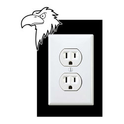 StickONmania - Outlet Eagle #2 Sticker - a vinyl decal sticker to decorate a wall outlet.  Decorate your home with original vinyl decals made to order in our shop located in the USA. We only use the best equipment and materials to guarantee the everlasting quality of each vinyl sticker. Our original wall art design stickers are easy to apply on most flat surfaces, including slightly textured walls, windows, mirrors, or any smooth surface. Some wall decals may come in multiple pieces due to the size of the design, different sizes of most of our vinyl stickers are available, please message us for a quote. Interior wall decor stickers come with a MATTE finish that is easier to remove from painted surfaces but Exterior stickers for cars,  bathrooms and refrigerators come with a stickier GLOSSY finish that can also be used for exterior purposes. We DO NOT recommend using glossy finish stickers on walls. All of our Vinyl wall decals are removable but not re-positionable, simply peel and stick, no glue or chemicals needed. Our decals always come with instructions and if you order from Houzz we will always add a small thank you gift.