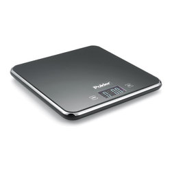 POLDER - Slimmer Digital Kitchen Scale, Black - A perfact scale that measure any food in grams, kilograms, ounces and pounds. Easy touch-screen controls feature tare and on/off functions. With the add and weigh tare function, this scale will reset to 0, accurately weighing each ingredient added to the scale. Automatically shuts off after 1 minute of nonuse to save battery life.
