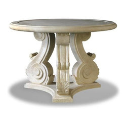 EcoFirstArt - 3 Leg Scroll Base Table - Add some old world charm to your home or patio with this solid cast stone table. The striking antique production features three intricately scrolled legs melded into a sold base. This piece is sure to become the focal point for many beverages and conversations to come.