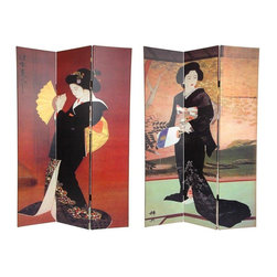 Oriental Furniture - 6 ft. Tall Double Sided Japanese Ladies Canvas Room Divider - This screen features stunning turn of the century Japanese design poster art images of Geishas. Large vintage graphic art, one side a lovely Geisha in a stunning black wedding kimono, the other side a Geisha doing a traditional fan dance. Simple, subtle imagery and rich colors make this a beautiful decorative accent for any room- living room, bedroom, dining or kitchen. Each side has a different image as shown.