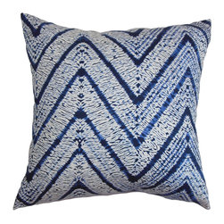 "The Pillow Collection - Destry Zigzag Pillow Blue 18"" x 18"" - This vivid throw pillow is artfully decorated with zigzag patterns. Make this accent pillow a fresh addition to your interiors. Made of 100% soft cotton fabric, this 18"" pillow is easy to clean and maintain. Rich hues of blue and white are featured in this decor pillow. This square pillow can be paired with other patterns and solids. Hidden zipper closure for easy cover removal.  Knife edge finish on all four sides.  Reversible pillow with the same fabric on the back side.  Spot cleaning suggested."