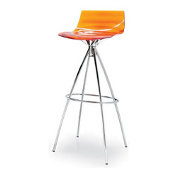 Calligaris - Calligaris L Eau Techno-Polymer Counter Stool - CS/1269-P77-P266 - Shop for Stools from Hayneedle.com! The Calligaris L Eau Techno-Polymer Counter Stool has a new age design. Features water-clear techo-polymer (plastic) seat with ripple pattern molded seat with a wavy design. This non-swivel stool is stationary. A conical pyramid metal frame with a chrome finish and ring footrest. Available in several seat colors. Country of origin: Italy. Stool dimensions: 16.5W x 16.75D x 33.5H inches. Made for counter height seating at your kitchen or bar. About Calligaris FurnitureThis item is manufactured by the Calligaris company. Begun in 1923 in Italy Calligaris Furniture has steadily grown to become a leader in the furniture industry. Their designs are renowned throughout the world for sleek contemporary form and function. Calligaris items exceed industry standards and the company proudly complies to environmental standards regarding forestry and sustainable resources. The name Calligaris is synonymous with exciting design high quality and forward thinking.