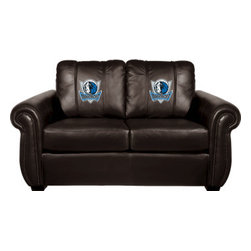 Dreamseat Inc. - Dallas Mavericks NBA Chesapeake Black Leather Loveseat - Check out this Awesome Loveseat. It's the ultimate in traditional styled home leather furniture, and it's one of the coolest things we've ever seen. This is unbelievably comfortable - once you're in it, you won't want to get up. Features a zip-in-zip-out logo panel embroidered with 70,000 stitches. Converts from a solid color to custom-logo furniture in seconds - perfect for a shared or multi-purpose room. Root for several teams? Simply swap the panels out when the seasons change. This is a true statement piece that is perfect for your Man Cave, Game Room, basement or garage.