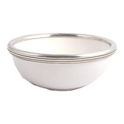 "Arte Italica Tuscan Cereal/Soup Bowl - Arte Italica Cereal/Soup Bowl. Arte Italica's most popular Tuscan collection, the original pewter and ceramic dinnerware, combines white ceramic with their signature pewter trim. The cereal bowl is 2 3/4"" H X 6 1/2"" D 17 OZ Handcrafted in Italy of the highest quality materials."