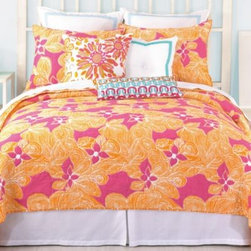 Trina Turk - Trina Turk Floral Coverlet - The bold and colorful Floral coverlet by Trina Turk is inspired by gorgeous tropical flowers in beautiful magenta and orange. The coverlet reverses to a fun sketched orange plaid.