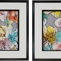 Paragon Decor - Graffiti Flowers  Set of 2 Artwork - Gorgeous graffiti flowers are matted in white and black.  Framed in glossy black and silver shadow box frame.