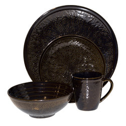 Sango - Spectrum Black 16-piece Set - This dark dinnerware set includes four each of dinner plates, salad plates, soup bowls and mugs. The black textured surfaces have a high fired luster for an attractive variance.