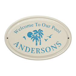Frontgate - Welcome to Our Pool Ceramic Plaque - Made from high-quality off-white ceramic to resist outdoor elements. Mounting instructions included. Choose from four tropical colors. Personalize with your last name. Made in USA. A tropical scene of palm trees and birds in flight greets pool visitors with a cheerful welcome message. Choose from an array of bright colors, and personalize the ready-to-hang weather-resistant plaque with your last name. Simply hang on a fence or outdoor wall for the perfect poolside accent. . . . . . Please check for accuracy; personalized orders cannot be modified, cancelled, or returned after being placed.