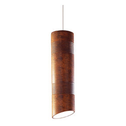 A19 - Raindance Mini Pendant Butternut- Without Canopy - The long cylindrical shape of the Raindance Mini Pendant is incised bands hand-carved in the clay and a striking angled rim. The striking shape and textures are further enhanced with the rich matter Butternut glaze. Stylish hung alone or in a group, each of these hand-made lights is truly one of a kind. The hang straight sleeve slides over the coaxial cord creating a refined aesthetic and the opaque ceramic shade blocks glare while providing generous energy efficient down-lighting.