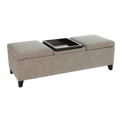 Great Deal Furniture - Ecatro Storage Ottoman with center coffee table tray - Features: