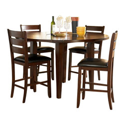 Homelegance - Homelegance Ameillia 5 Piece Drop Leaf Round Counter Height Table Set - Blending the clean lines of Arts & Crafts with functional movement, the Ameillia Collection is a solid addition to your casual dining space. The drop-leaf counter height table features a lazy-susan making mealtime service a breeze. Substantial tapered legs and birch veneer in a dark oak finish complement this simple and refined dining option.