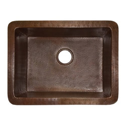 "Native Trails - Antique Copper Undermount Kitchen Sink - The Bistro hand hammered copper kitchen sink is a deep well sink that has been crafted by the Native Trails artisans to bring out the delightful, rich patina of the recycled copper. The perfect choice for a second sink in a larger kitchen, the Bistro is available in Brushed Nickel or Antique copper finishes. Material: Antique Copper; Dimensions: Outer Dim: 24""W X 18""D X 10.5""H; Inner Dim: 21""W X 15""D X 10""H; Thickness: Heavy Duty 16 Gauge High Quality Copper; Drain Hole: 3.5""; Weight: 35 lbs; Installation: Undermount; Included: Sink; Not Included: Drain & Faucet"