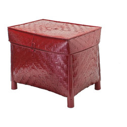 Kouboo - Bamboo Trunk with Cotton Liner, Red Lacquer - Woven by hand from sturdy bamboo, this stylish decorative trunk makes a beautiful statement that complements any decor or style. Its rich red lacquer finish is balanced by a soft, coordinating cotton liner in burgundy hues. A hinged cover keeps everything neatly tucked away and easily accessible, and its strong construction allows this trunk to withstand stacking weights of up to 20 lbs. Bamboo feet raise this piece off the floor, giving the appearance of a table. 1 year limited warrantyHand-woven from BambooRed cotton linerWeighs 9 lbs