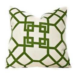 Society Social - Ming Trellis Pillow, Green - A hint of chinoiserie is sometimes all a room needs for polish, and this trellis pillow is certain to provide it. Done in verdant green or inky navy, the crisp contrast with the linen background makes for an impact.