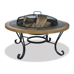 Uniflame - Uniflame WAD1358SP Slate Tile/ Faux Wood Outdoor Firebowl - Slate Tile/ Faux Wood Outdoor Firebowl belongs to Outdoor Living Collection by Uniflame