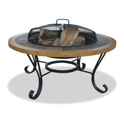 Uniflame - Uniflame WAD1358SP Slate Tile/ Faux Wood Outdoor Firebowl - Slate Tile/ Faux Wood Outdoor Firebowl belongs to Outdoor Living Collection by Uniflame